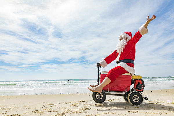 Water's Edge Art Print featuring the photograph Santa Claus Doing A Wheelie On A Motorised Esky