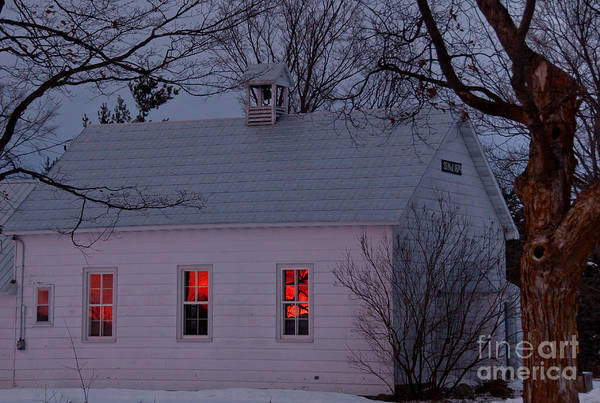 Sunset Sky Art Print featuring the photograph School House Sunset by Cheryl Baxter
