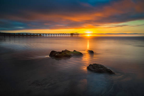 California; Long Exposure; Ocean; Reflection; San Diego; Sand; Seascape; Sky; Sunset; Surf; Seaside; Sun; Clouds; Southern California; Cloud; Water; Waterscape; Reef; Sea; Pacific; Waves; Coast; Coastal;skyline Art Print featuring the photograph Scripps Pier Sunset 2 by Larry Marshall