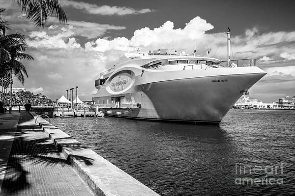 America Print featuring the photograph Seafair Art Venue Yacht Moored In Miami - Black And White by Ian Monk