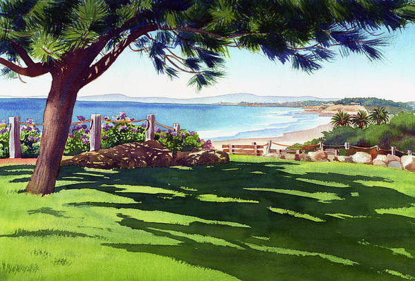 Seagrove Art Print featuring the painting Seagrove Park Del Mar by Mary Helmreich