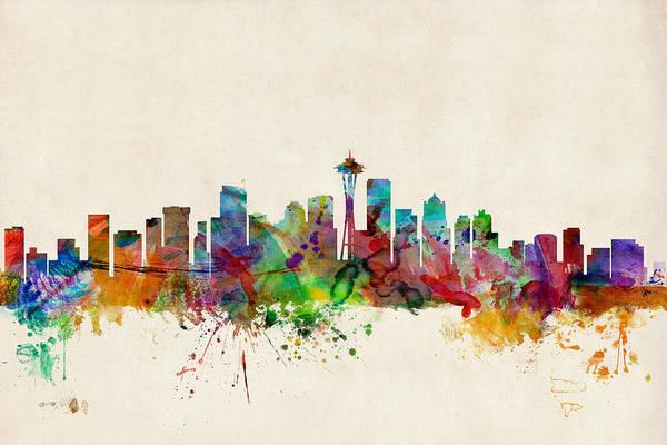 Watercolour Art Print featuring the digital art Seattle Washington Skyline by Michael Tompsett