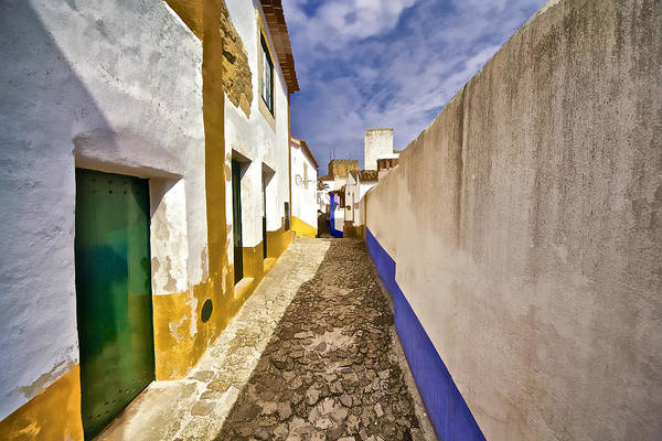 Blue Art Print featuring the photograph Secluded Cobblestone Street In The Medieval Village Of Obidos II by David Letts