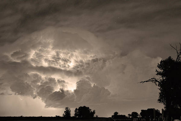 Lightning Art Print featuring the photograph Sepia Light Show by James BO Insogna