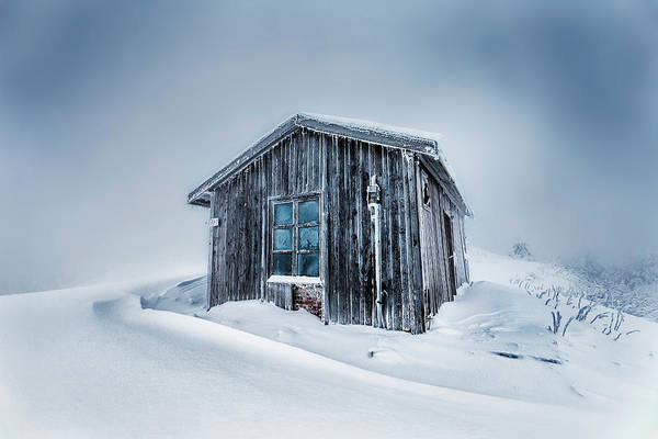 Balkan Mountains Art Print featuring the photograph Shed In The Blizzard by Evgeni Dinev