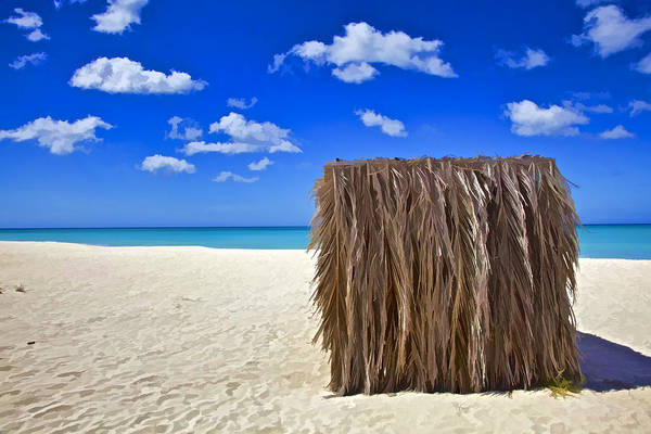 Aruba Art Print featuring the photograph Shelter On A White Sandy Caribbean Beach With A Blue Sky And White Clouds II by David Letts