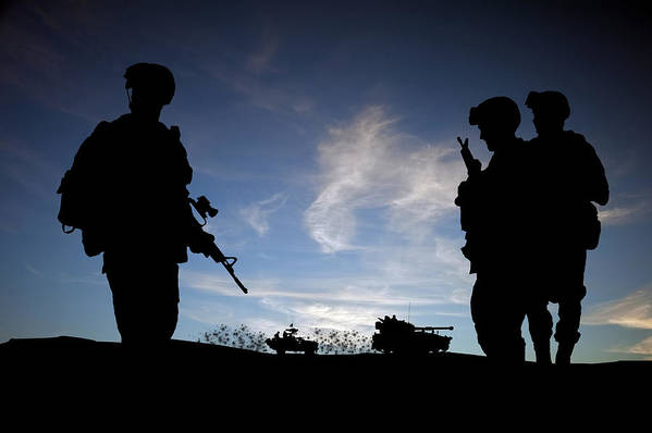 Army Art Print featuring the photograph Silhouette Of Modern Soldiers by Matthew Gibson