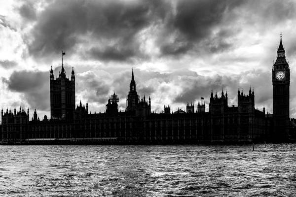 Bridge Print featuring the photograph Silhouette Of Palace Of Westminster And The Big Ben by Semmick Photo