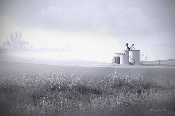 Silos Art Print featuring the pyrography Silo Mist by Melisa Meyers