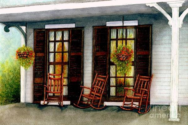 Rocking Chairs Art Print featuring the painting Sit A Spell by Janine Riley