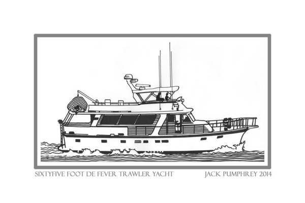 Yacht Portraits Art Print featuring the drawing Sixtyfive Foot Defever Trawler Yacht by Jack Pumphrey