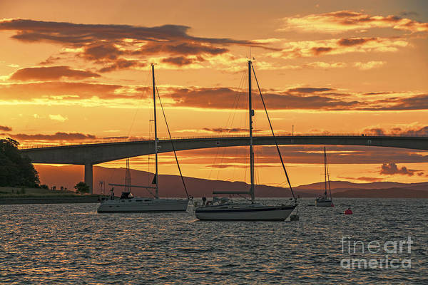 Isle Of Skye Canvas Print featuring the photograph Skye Bridge Sunset by Chris Thaxter