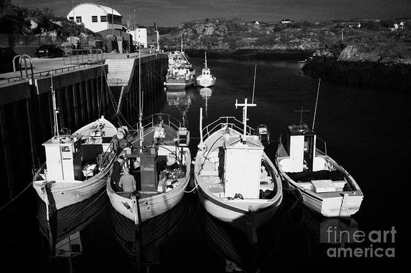 County Art Print featuring the photograph small fishing boats in bunbeg harbour county Donegal Republic of Ireland by Joe Fox