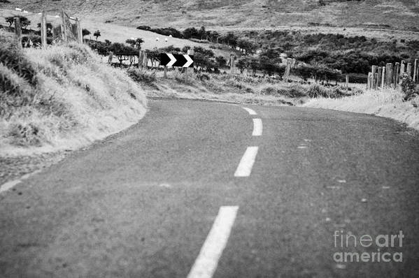 Northern Print featuring the photograph Small Narrow Country Road Leading To Dangerous Bend In County Antrim Northern Ireland by Joe Fox