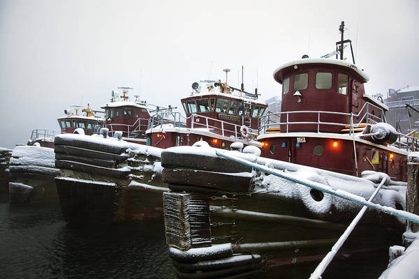 Snow Print featuring the photograph Snow Covered Tugboats by Eric Gendron