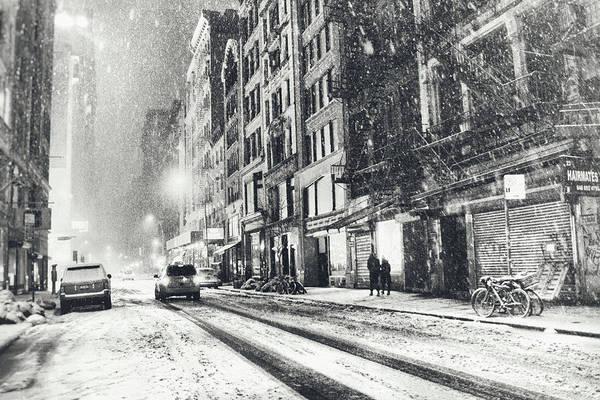 New York City Art Print featuring the photograph Snow - New York City - Winter Night by Vivienne Gucwa