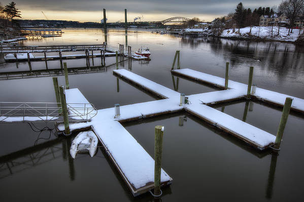 Snow On The Docks Art Print featuring the photograph Snow On The Docks by Eric Gendron