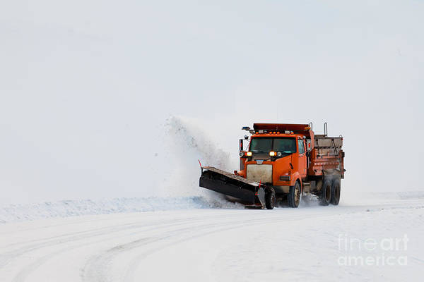 Access Print featuring the photograph Snow Plough Clearing Road In Winter Storm Blizzard by Stephan Pietzko