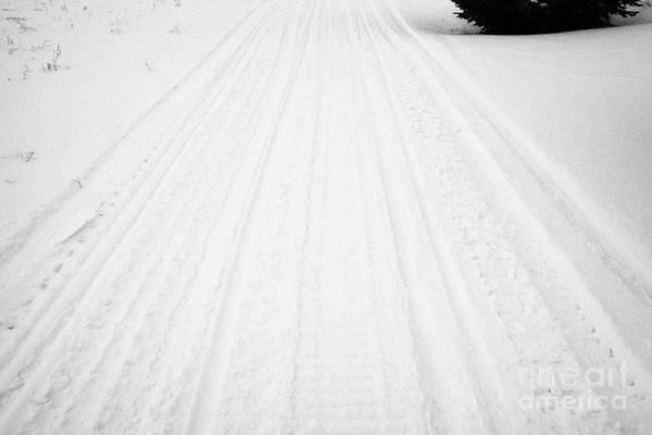Snowmobile Art Print featuring the photograph snowmobile tracks in the snow Kamsack Saskatchewan Canada by Joe Fox