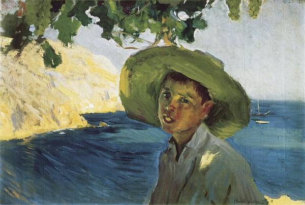 Horizontal Art Print featuring the photograph Sorollajoaqu�n 1863-1923. Boy With Hat by Everett