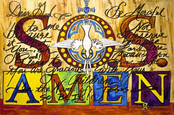 Prayer Art Print featuring the painting S.o.s. Amen by Gail Denney Shelton