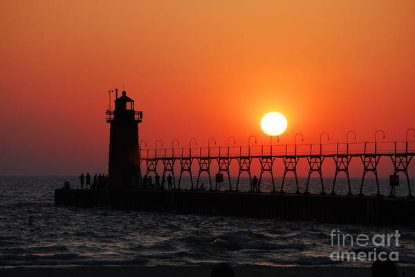 Sunset Art Print featuring the photograph South Haven Lighthouse At Sunset 1 by Nancy Mueller