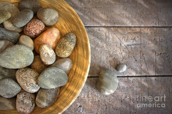 Arrangement Art Print featuring the photograph Spa Rocks In Wooden Bowl On Rustic Wood by Sandra Cunningham