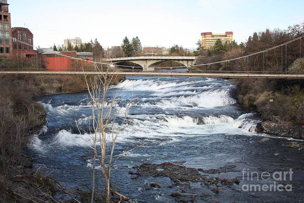 Spokane Falls Art Print featuring the photograph Spokane Falls In Winter by Carol Groenen