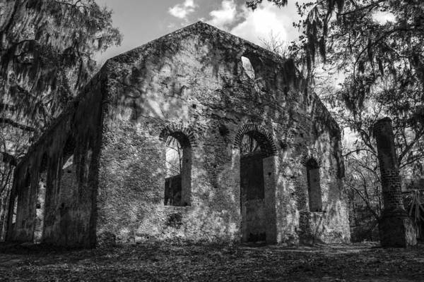Chapel Of Ease Art Print featuring the photograph St Helena Chapel Of Ease Bw 3 by Steven Taylor