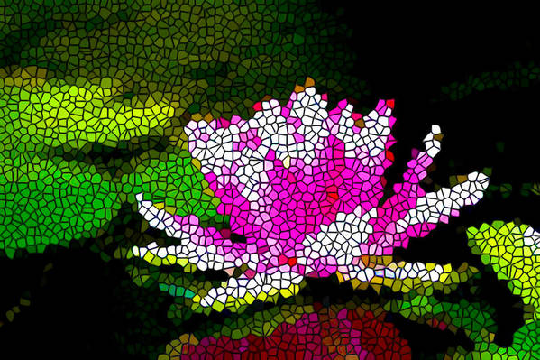 Stained Glass Pink Lotus Flower Art Print featuring the painting Stained Glass Pink Lotus Flower  by Jeelan Clark