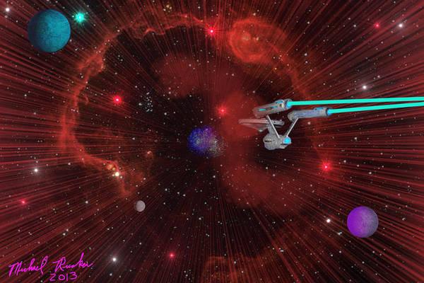 Star Trek Art Print featuring the digital art Star Trek - Punch It by Michael Rucker