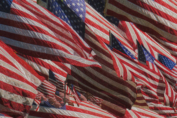 National Flag United States Of America Art Print featuring the painting Stars And Stripes - Remembering by Jack Zulli