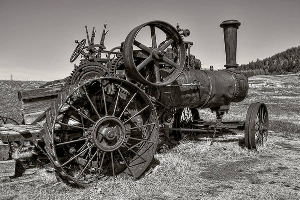 Steam Art Print featuring the photograph Steam Tractor - Molson Ghost Town by Daniel Hagerman