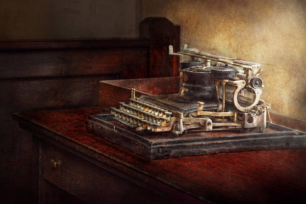 Steampunk Print featuring the photograph Steampunk - A Crusty Old Typewriter by Mike Savad