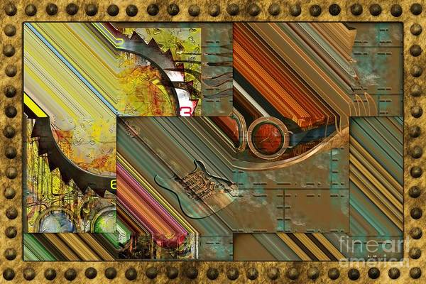 Steampunk Abstract Art Print featuring the digital art Steampunk Abstract by Liane Wright