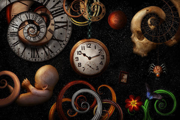 Time Art Print featuring the photograph Steampunk - Abstract - The Beginning And End by Mike Savad