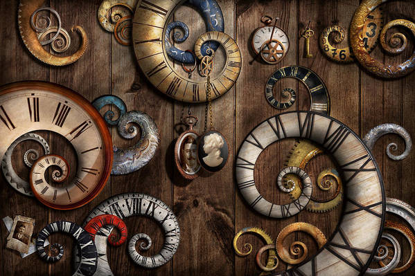 Savad Print featuring the photograph Steampunk - Clock - Time Machine by Mike Savad