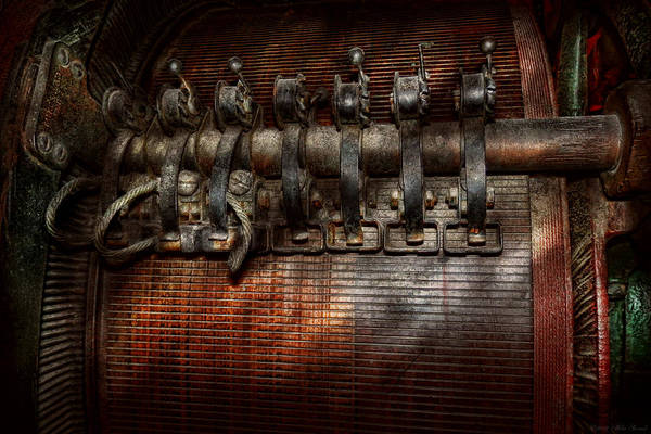 Steampunk Print featuring the photograph Steampunk - Electrical - Motorized by Mike Savad