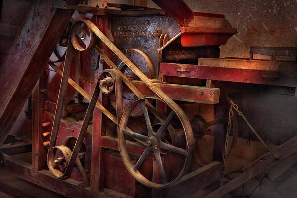 Steampunk Art Print featuring the photograph Steampunk - Gear - Belts And Wheels by Mike Savad