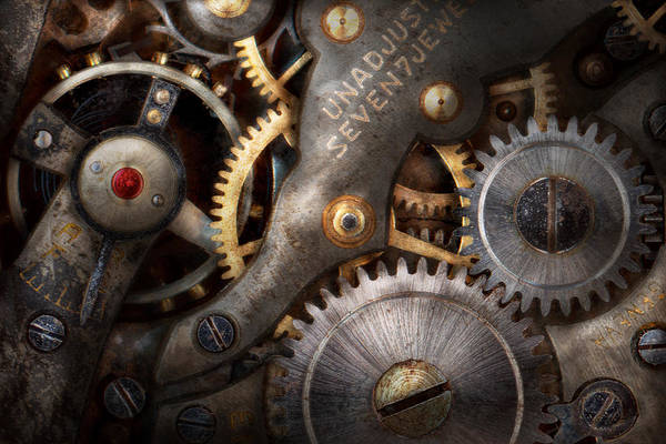 Steampunk Gears Horology Art Print By Mike Savad