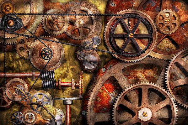 Steampunk Print featuring the photograph Steampunk - Gears - Inner Workings by Mike Savad