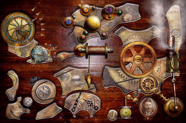 Savad Art Print featuring the photograph Steampunk - Gears - Reverse Engineering by Mike Savad