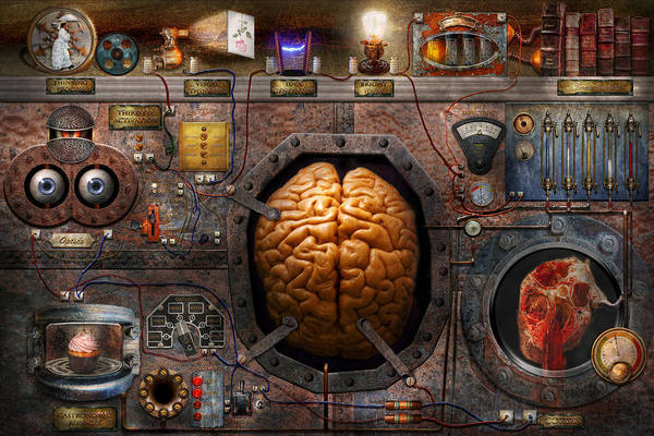 Brain Print featuring the photograph Steampunk - Information Overload by Mike Savad