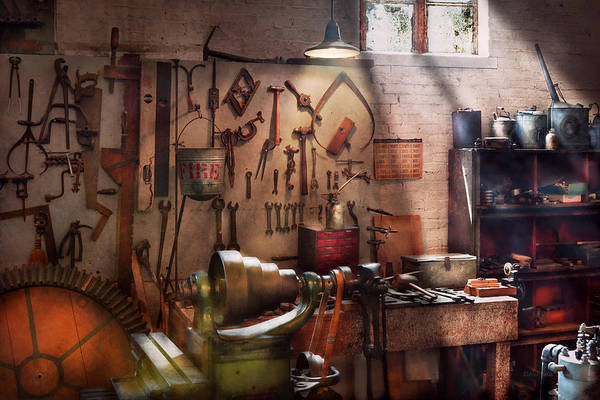 Savad Art Print featuring the photograph Steampunk - Machinist - The Inventors Workshop by Mike Savad