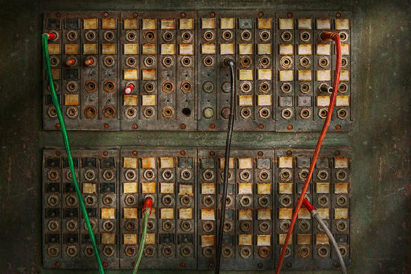 Steampunk Art Print featuring the photograph Steampunk - Phones - The Old Switch Board by Mike Savad