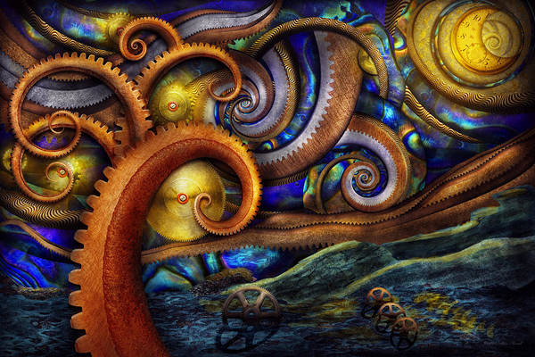 Savad Art Print featuring the photograph Steampunk - Starry Night by Mike Savad
