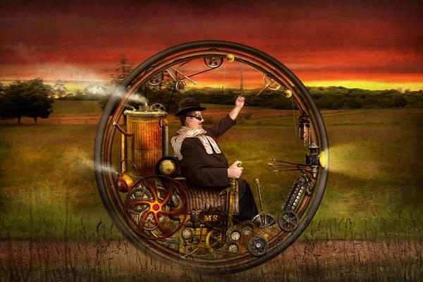 Steampunk Art Print featuring the digital art Steampunk - The Gentleman's Monowheel by Mike Savad