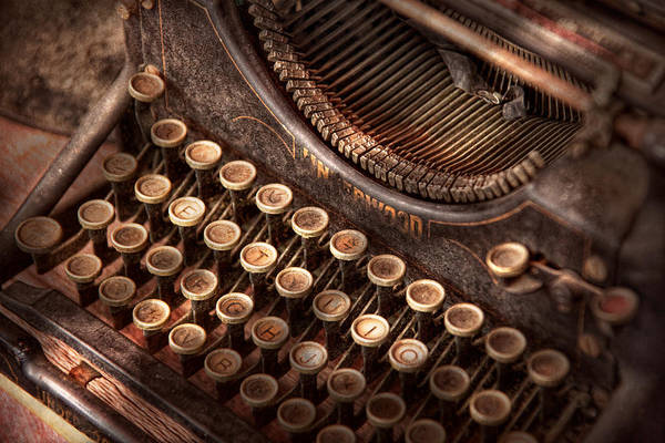 Steampunk Art Print featuring the photograph Steampunk - Typewriter - Too Tuckered To Type by Mike Savad