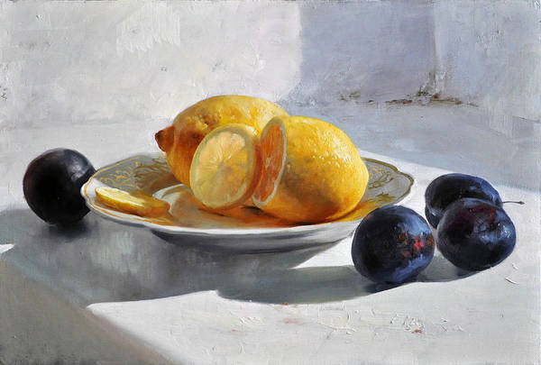 Still Life Art Print featuring the painting Still Life With Lemons by Dmitriy Kalujni