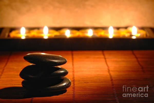 Zen Art Print featuring the photograph Stone Cairn And Candles For Quiet Meditation by Olivier Le Queinec